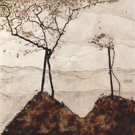 Herbstsonne und Bäume, Schiele
